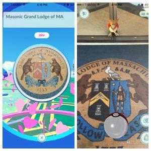 Pokémon Go at the Boston Masonic Building.