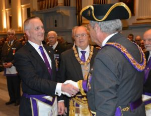 Fred A. Dobson accepts his election as 2018 Senior Grand Warden for the Massachusetts Freemasons.