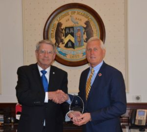 Grand Master receives an award from the Red Cross on behalf of all Massachusetts Freemasons